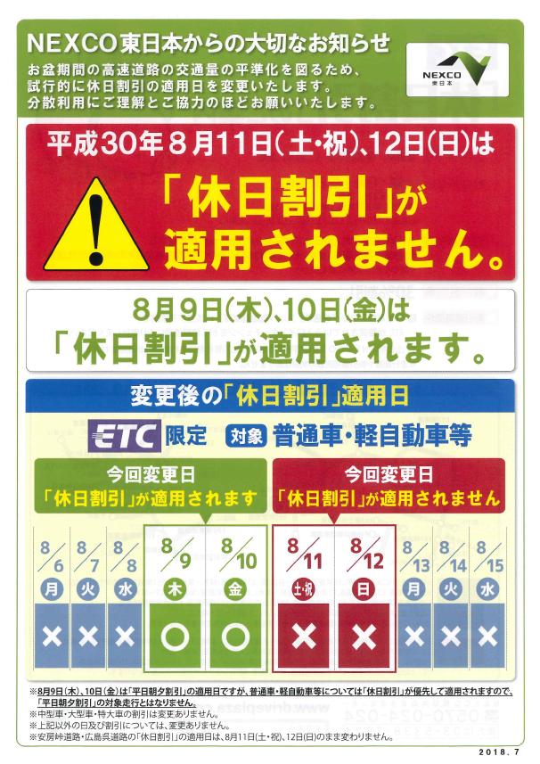 NEXCO東日本からのお知らせ(平...